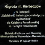 Książnica Pruszkowska uhonorowana nagrodą im. Kierbiedziów